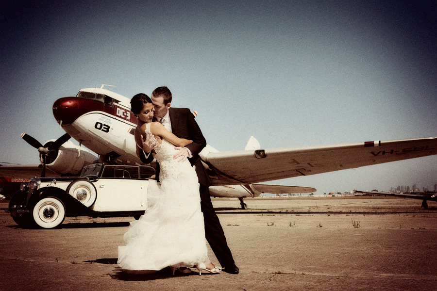 Melbourne Wedding Photography; plane; Essendon Airport; Wedding Photo